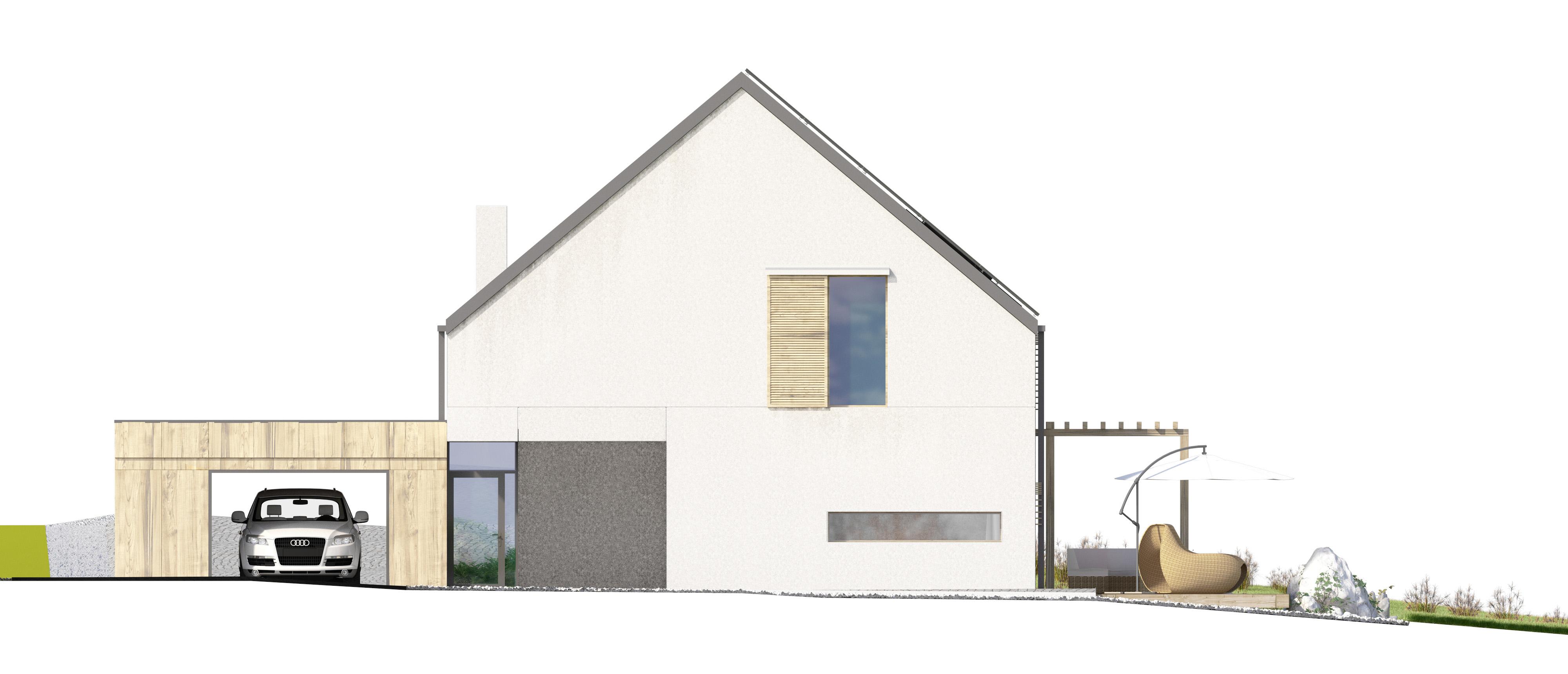 Projekt domu EX HOUSE Domy Czystej Energii elewacja frontowa