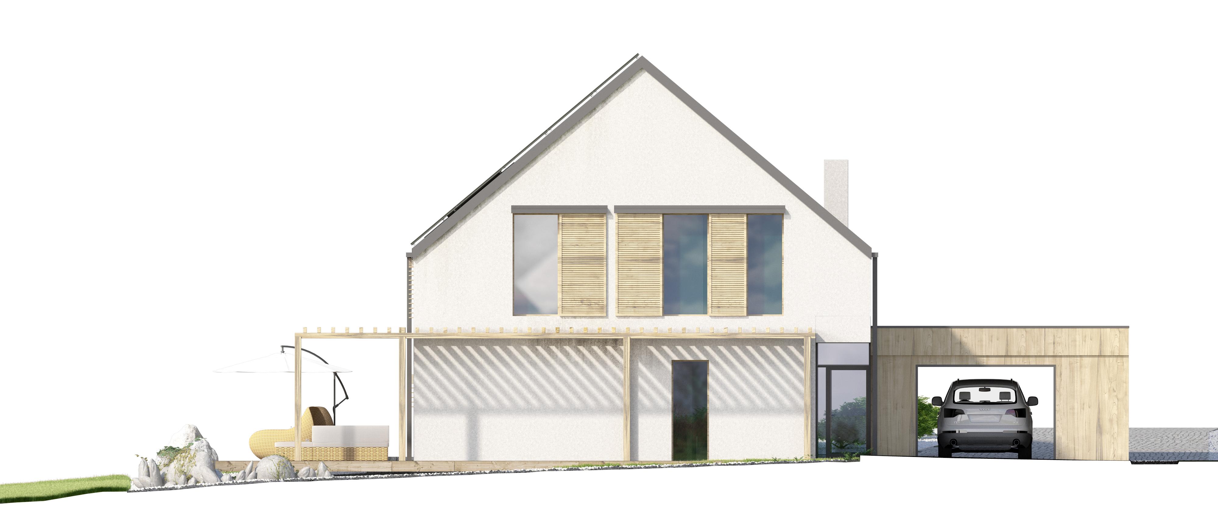 Projekt domu EX HOUSE Domy Czystej Energii elewacja tylna