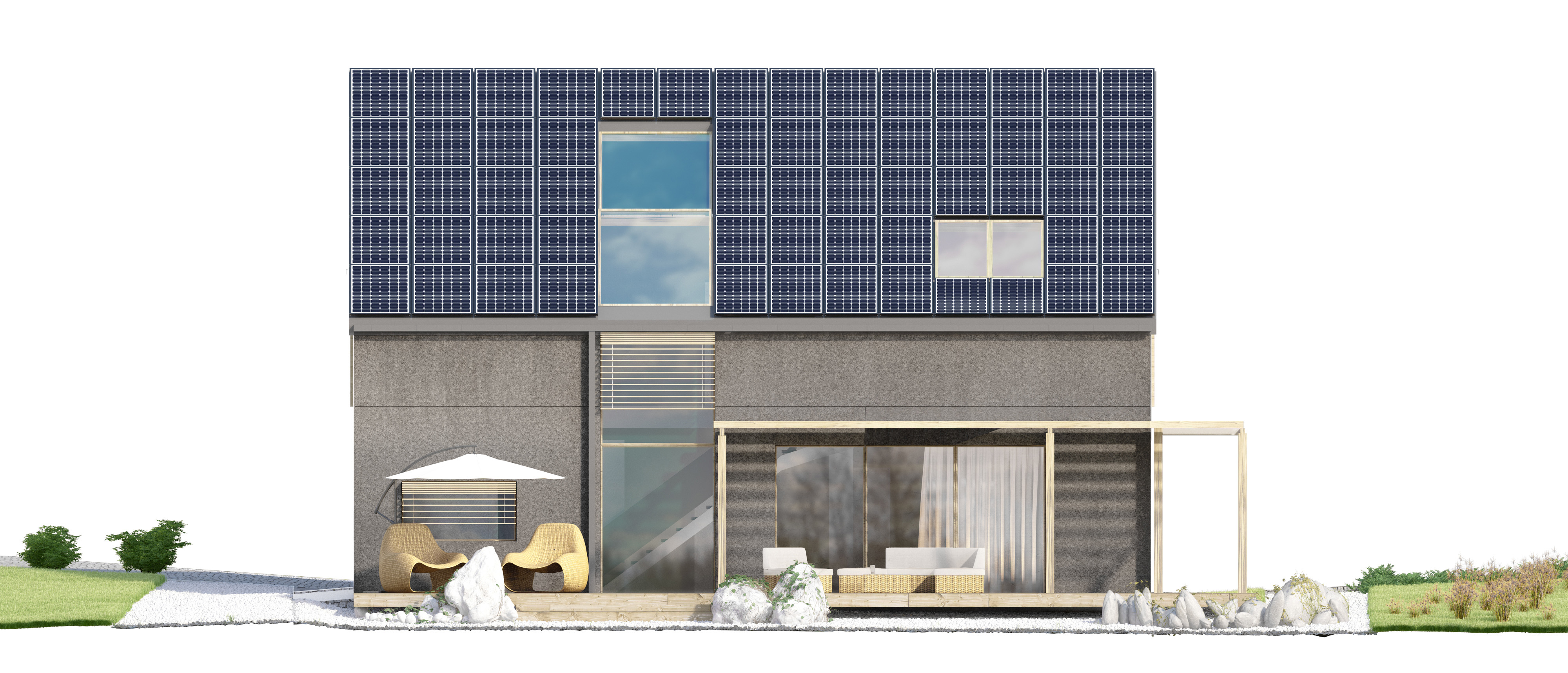 Projekt domu EX HOUSE Domy Czystej Energii elewacja boczna