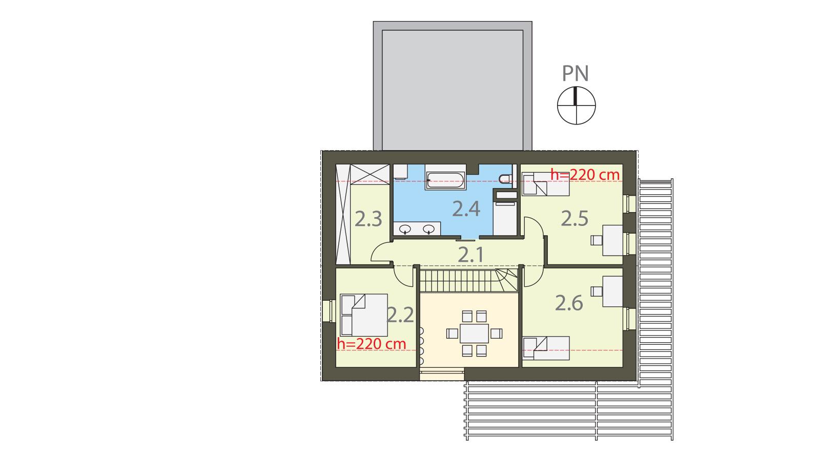 Projekt domu EX HOUSE Domy Czystej Energii rzut piętra