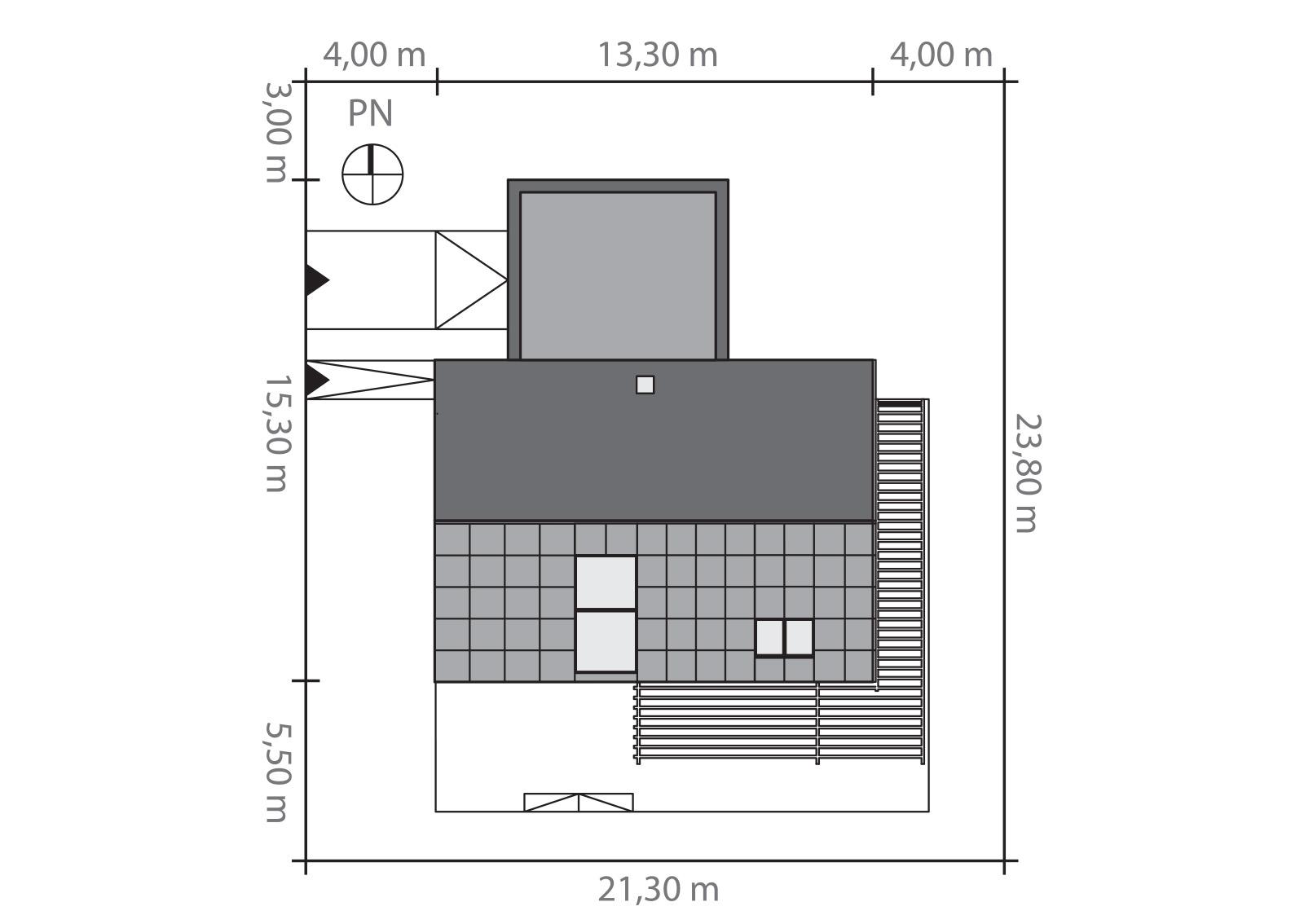 Projekt domu EX HOUSE Domy Czystej Energii rzut działki