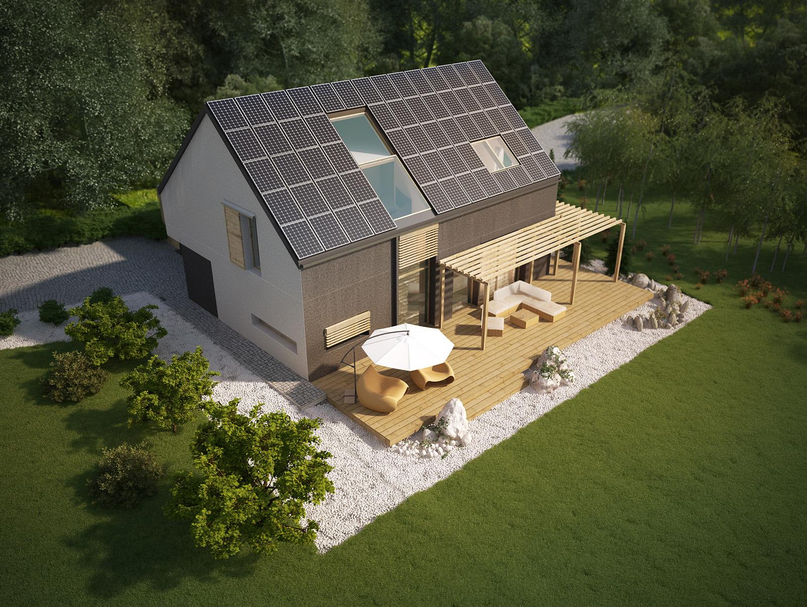 Projekt domu EX HOUSE Domy Czystej Energii widok od ogrodu i od frontu
