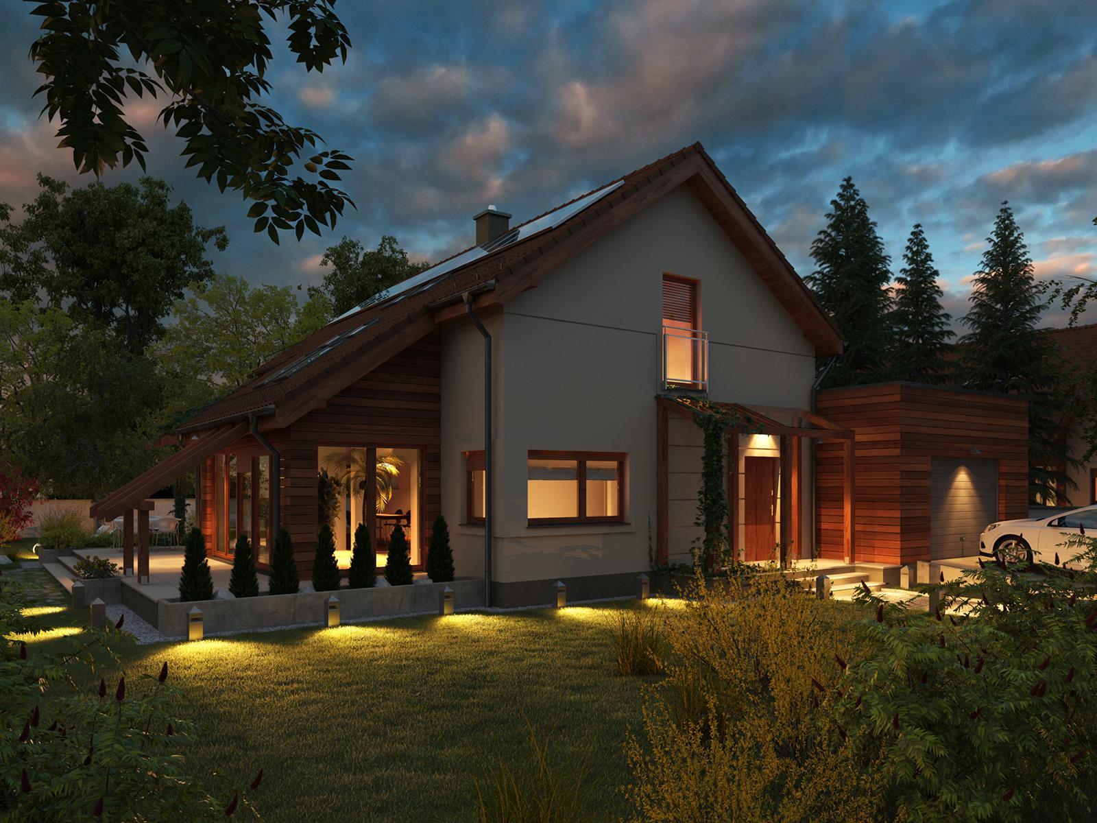 Projekt domu Z ORANŻERIĄ Domy Czystej Energii widok od frontu