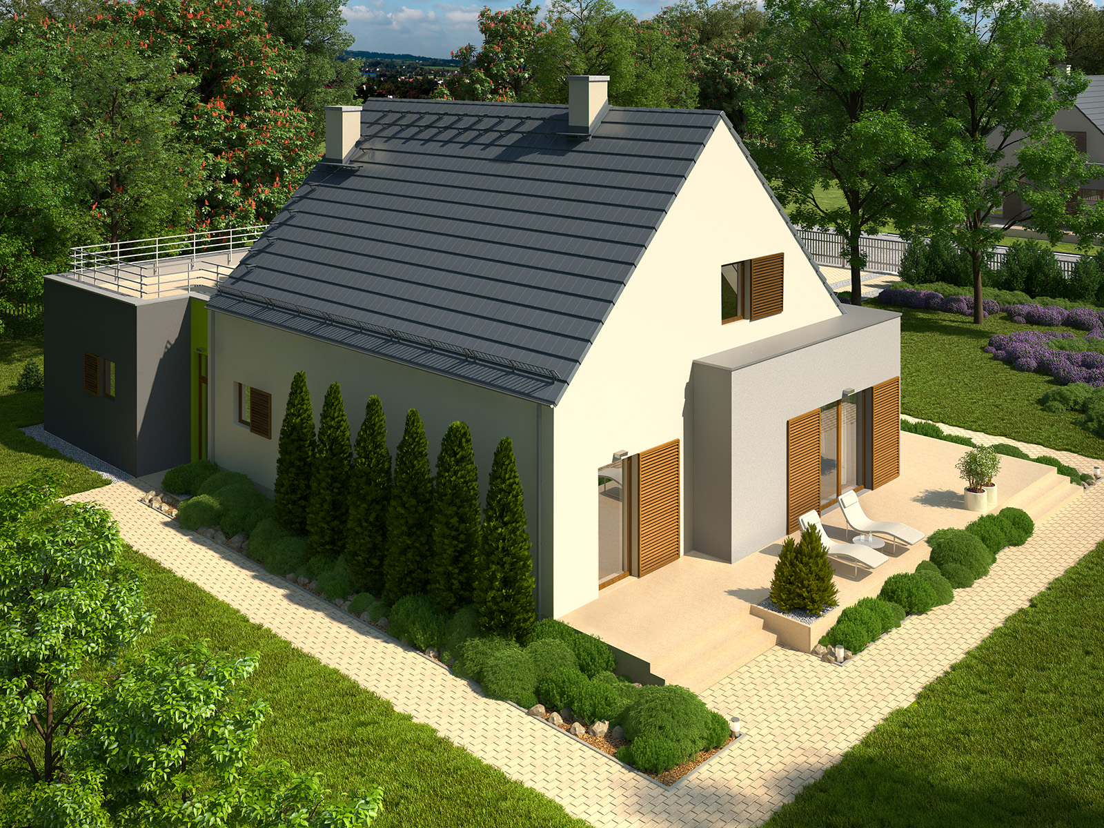Projekt domu FRONTOWY Domy Czystej Energii widok od ogrodu