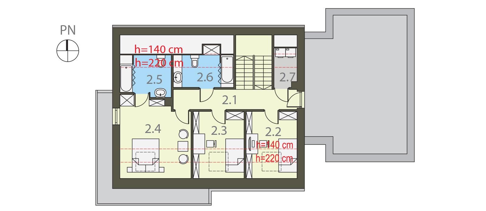 Projekt domu FRONTOWY Domy Czystej Energii rzut piętra