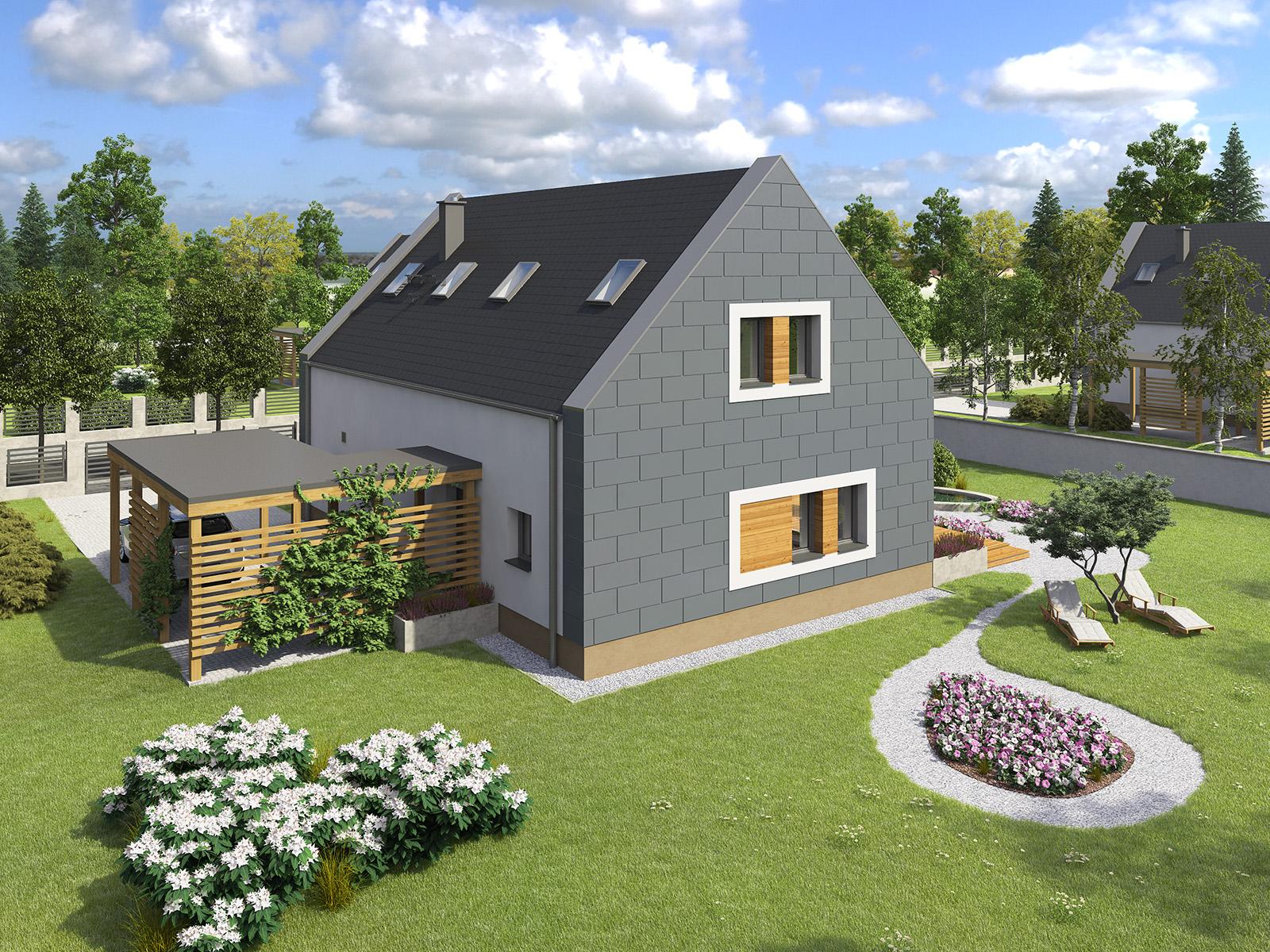 Projekt domu JAŚMINOWY Domy Czystej Energii widok z boku