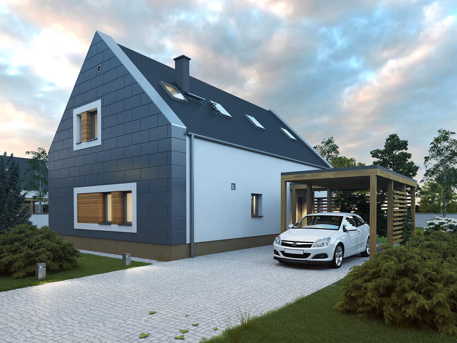 Projekt domu JAŚMINOWY Domy Czystej Energii widok od frontu i z boku