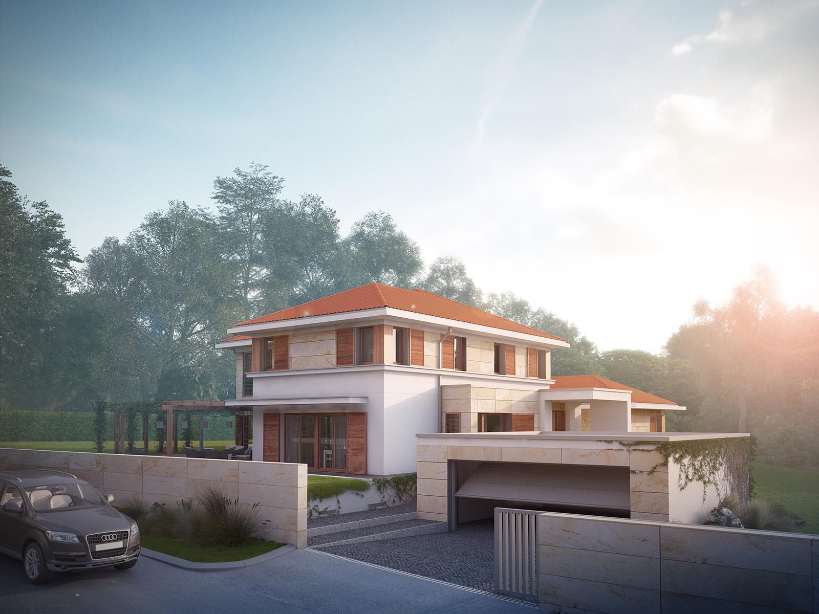 Projekt domu ZDROJOWY Domy Czystej Energii widok od boku i od frontu