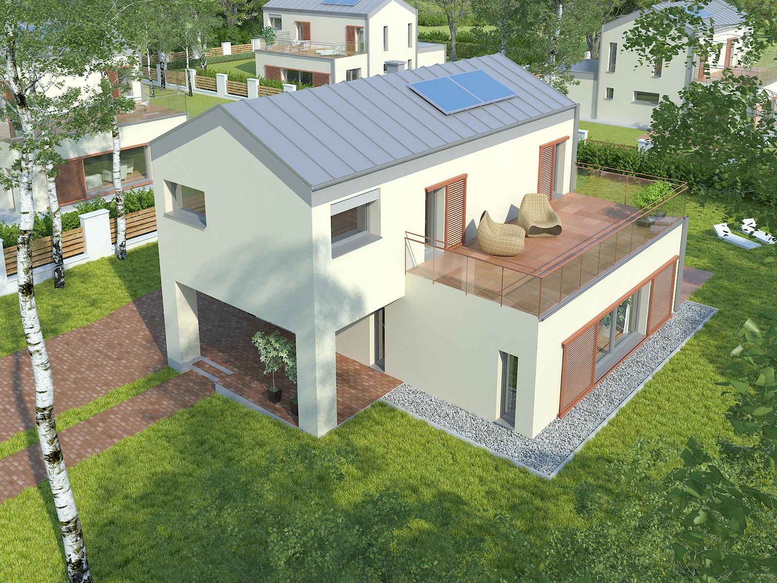 Projekt domu KĄT Domy Czystej Energii widok od frontu i od ogrodu