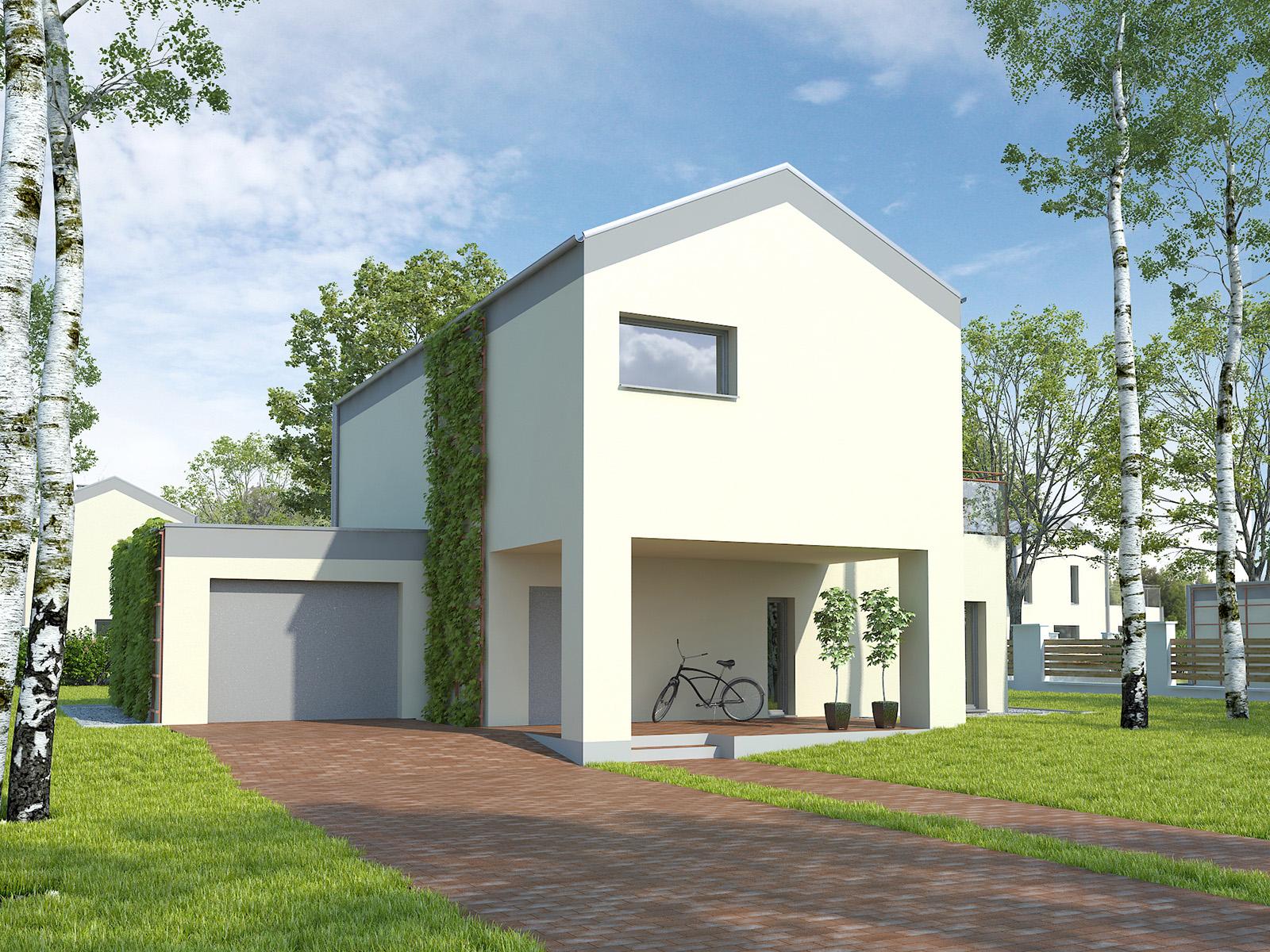 Projekt domu KĄT Domy Czystej Energii widok od frontu
