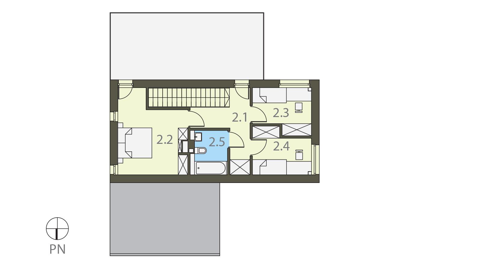 Projekt domu KĄT Domy Czystej Energii rzut piętra