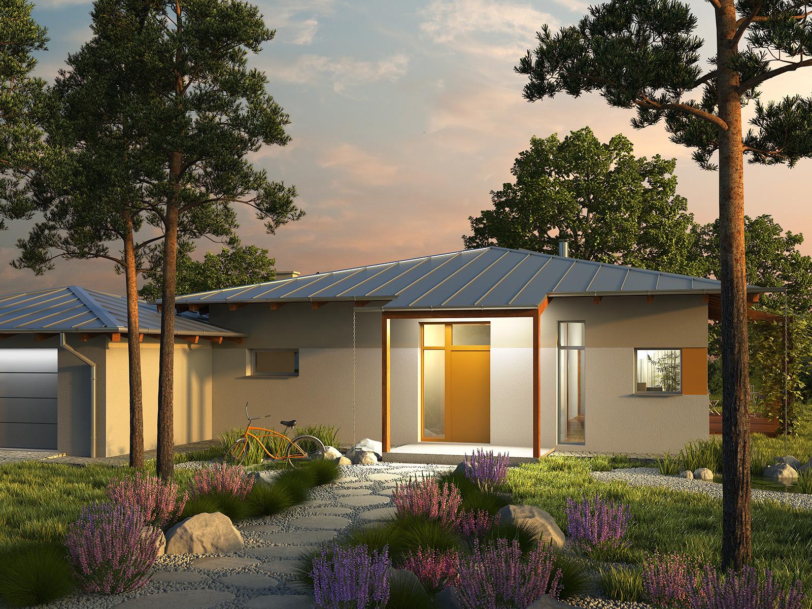 Projekt domu KOPERTOWY Domy Czystej Energii widok od frontu