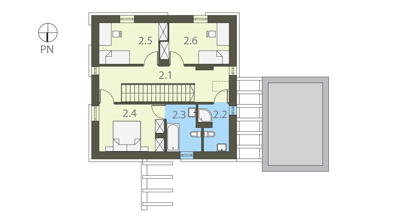 Projekt domu KWADRAT Domy Czystej Energii rzut piętra