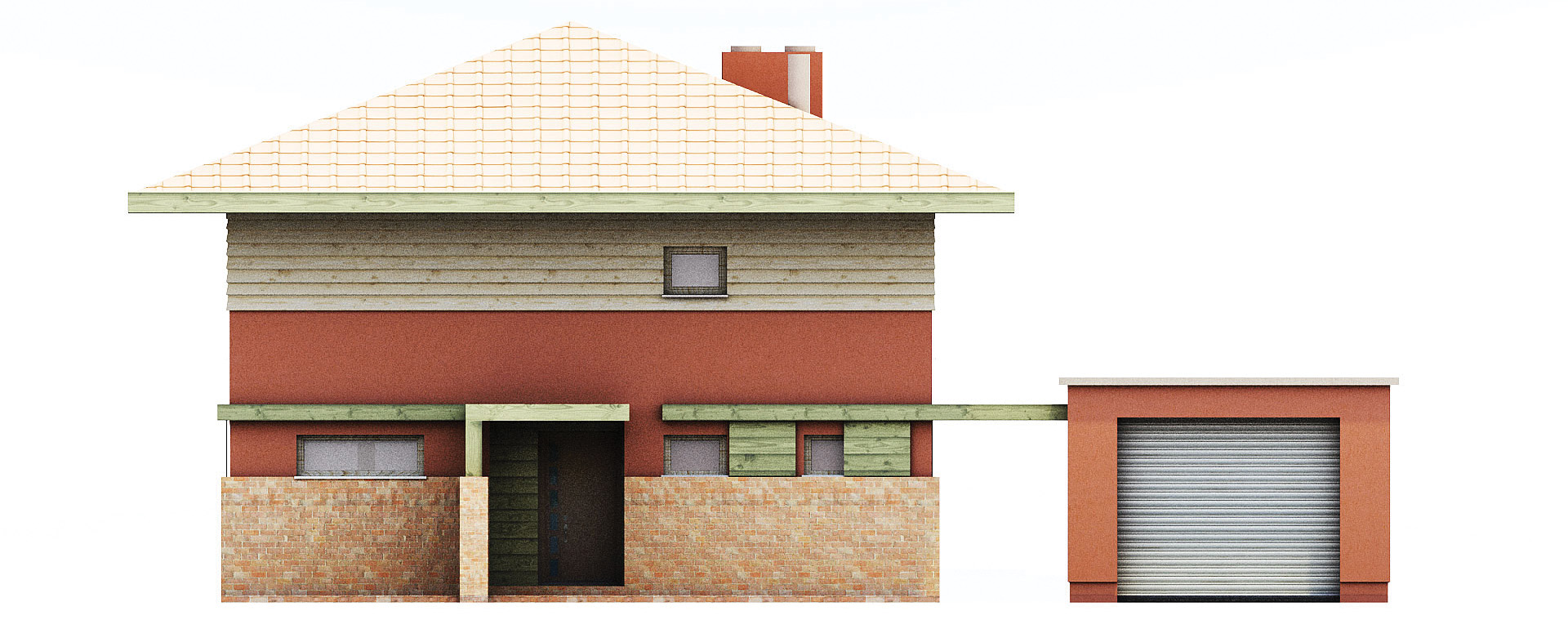 Projekt domu KWADRAT Domy Czystej Energii elewacja frontowa