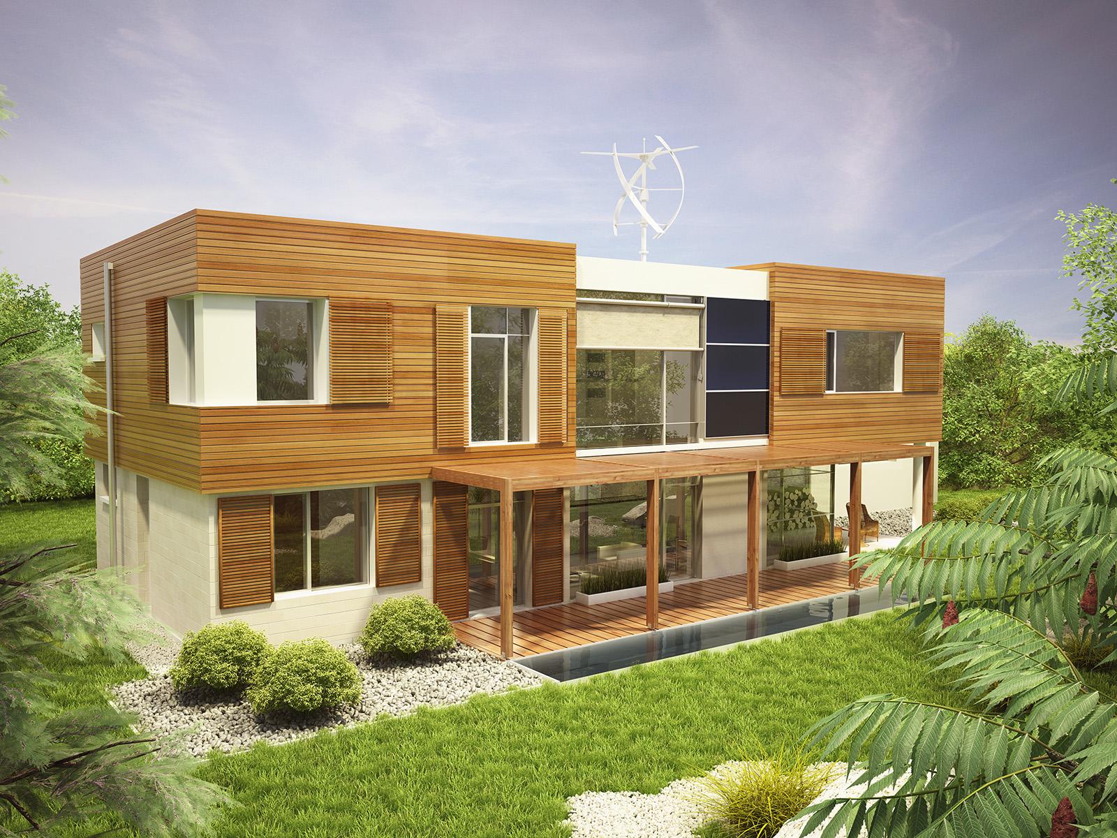 Projekt domu KOMFORTOWY Domy Czystej Energii widok od ogrodu