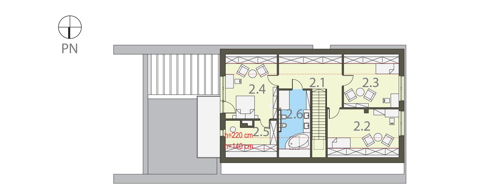 Projekt domu MAJA Domy Czystej Energii rzut piętra