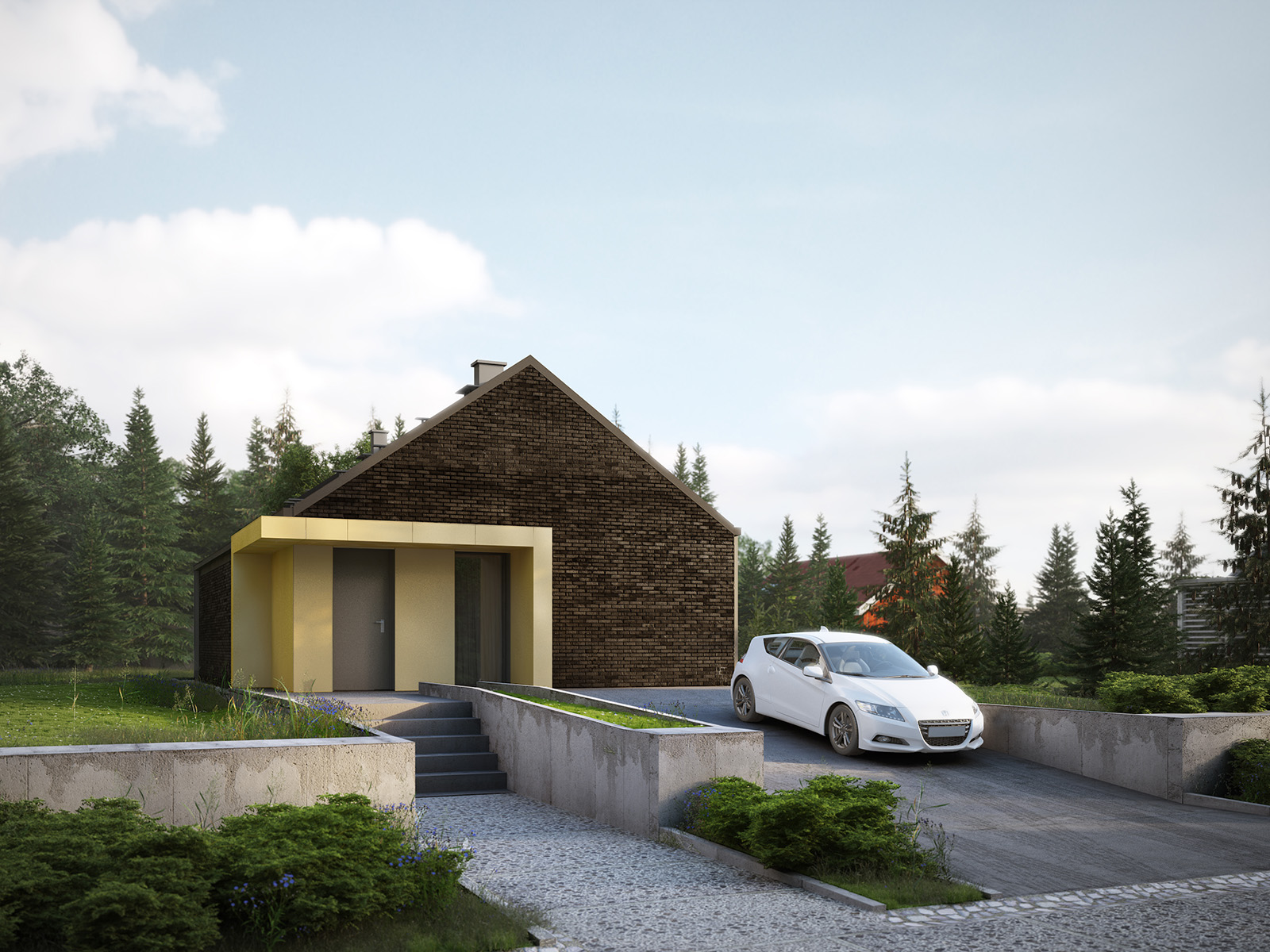 Projekt domu MINIMALNY Domy Czystej Energii widok od frontu
