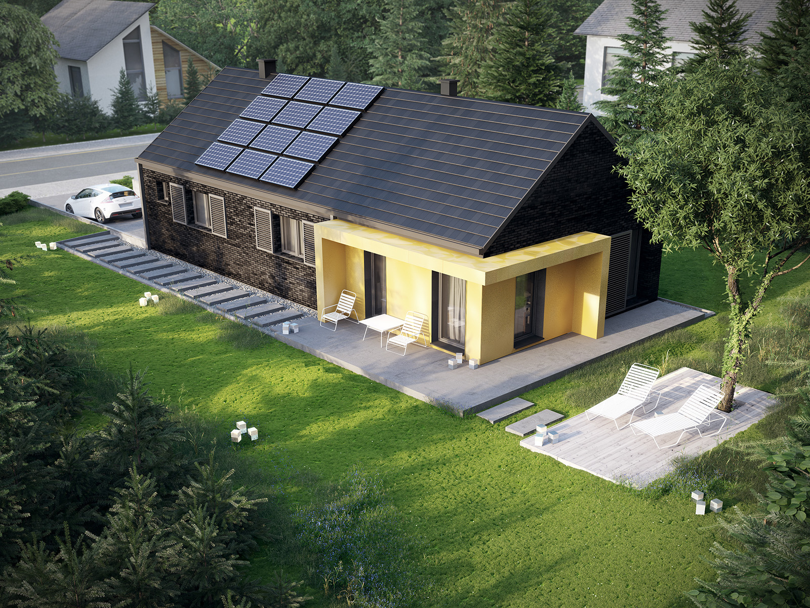 Projekt domu MINIMALNY Domy Czystej Energii widok od ogrodu nocą