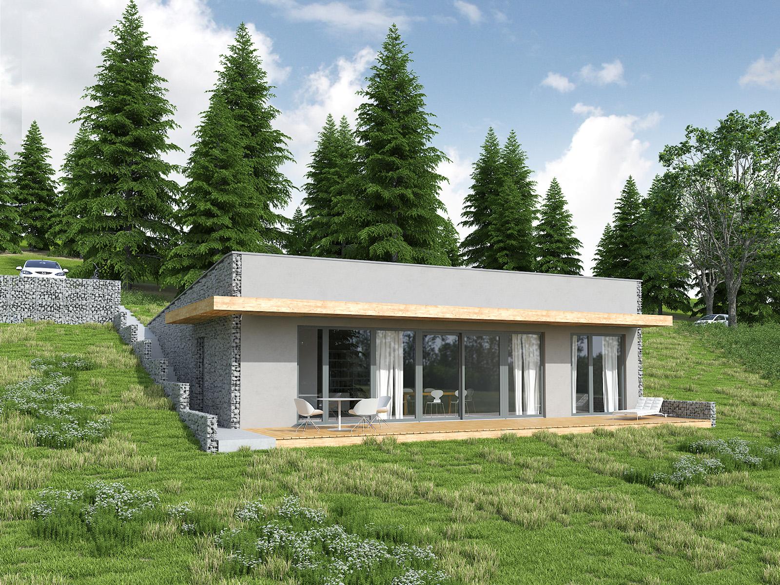 Projekt domu Z WIDOKIEM NA SŁOŃCE Domy Czystej Energii widok od ogrodu