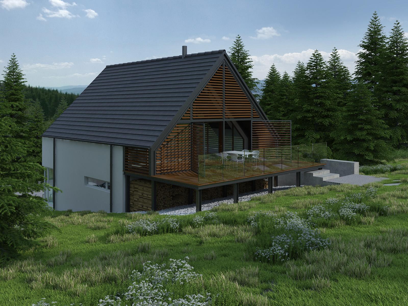 Projekt domu Z TARASEM Domy Czystej Energii widok od ogrodu