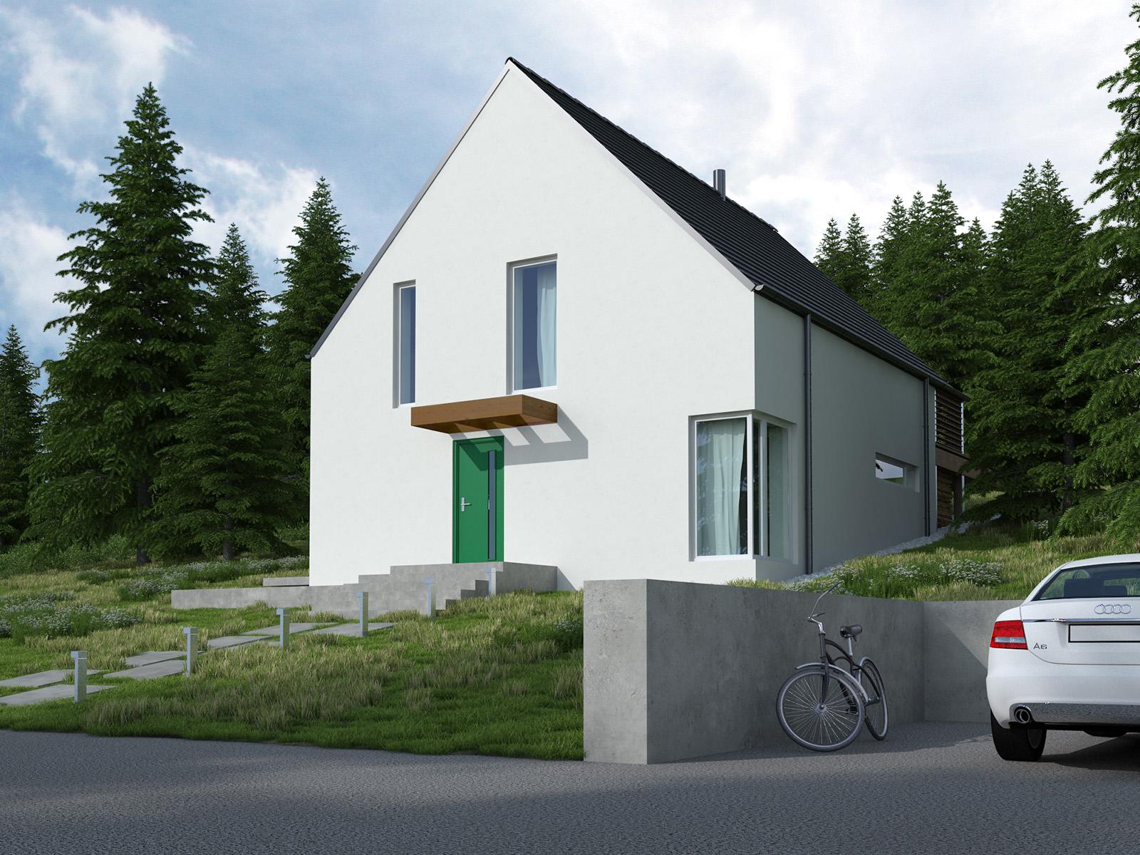 Projekt domu Z TARASEM Domy Czystej Energii widok od frontu