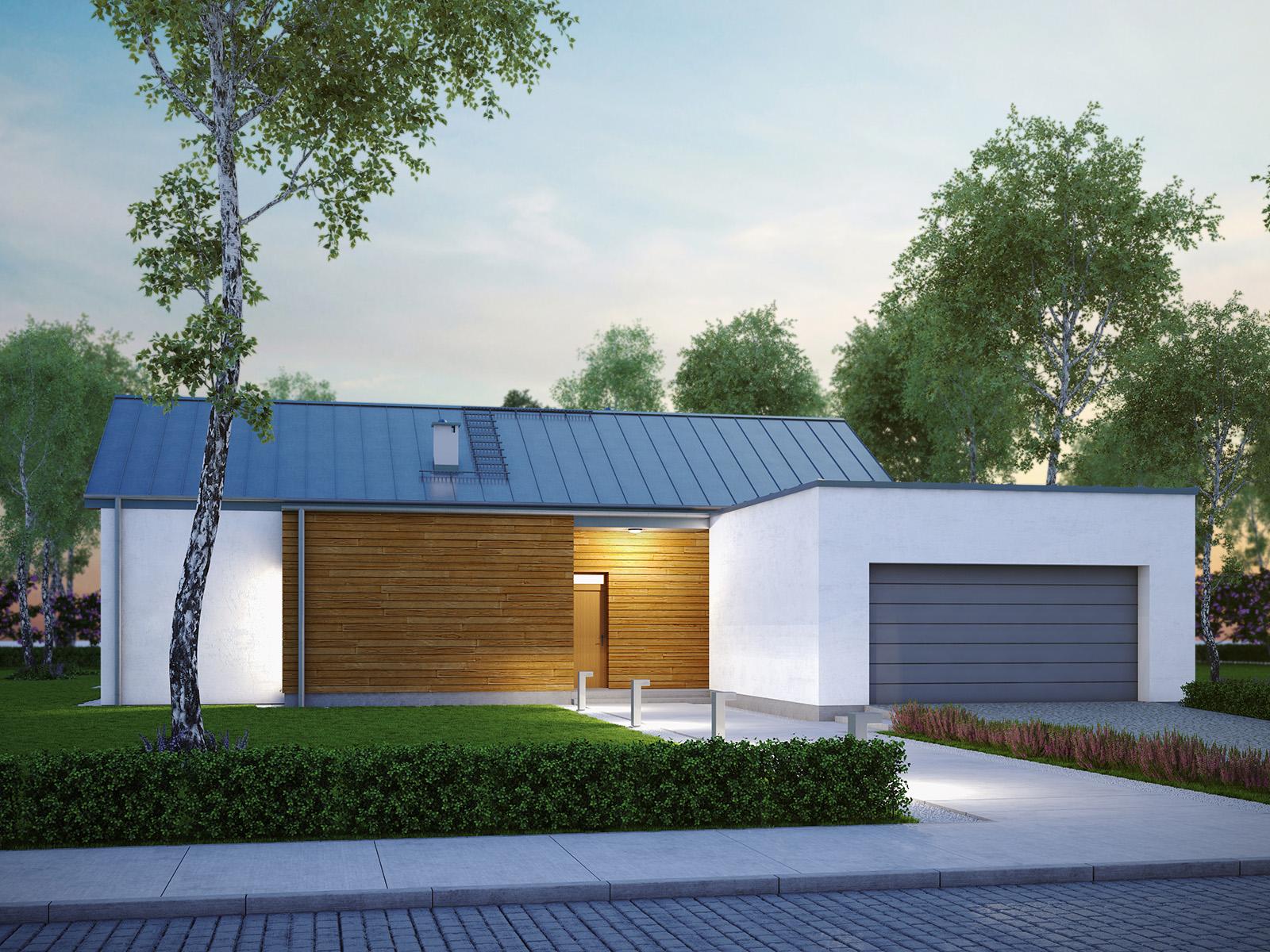 Projekt domu NISKI Domy Czystej Energii widok od frontu