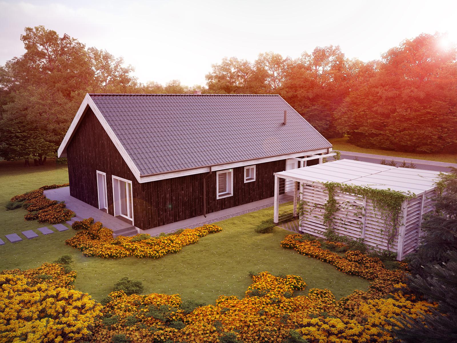 Projekt domu OSLO Domy Czystej Energii widok od ogrodu