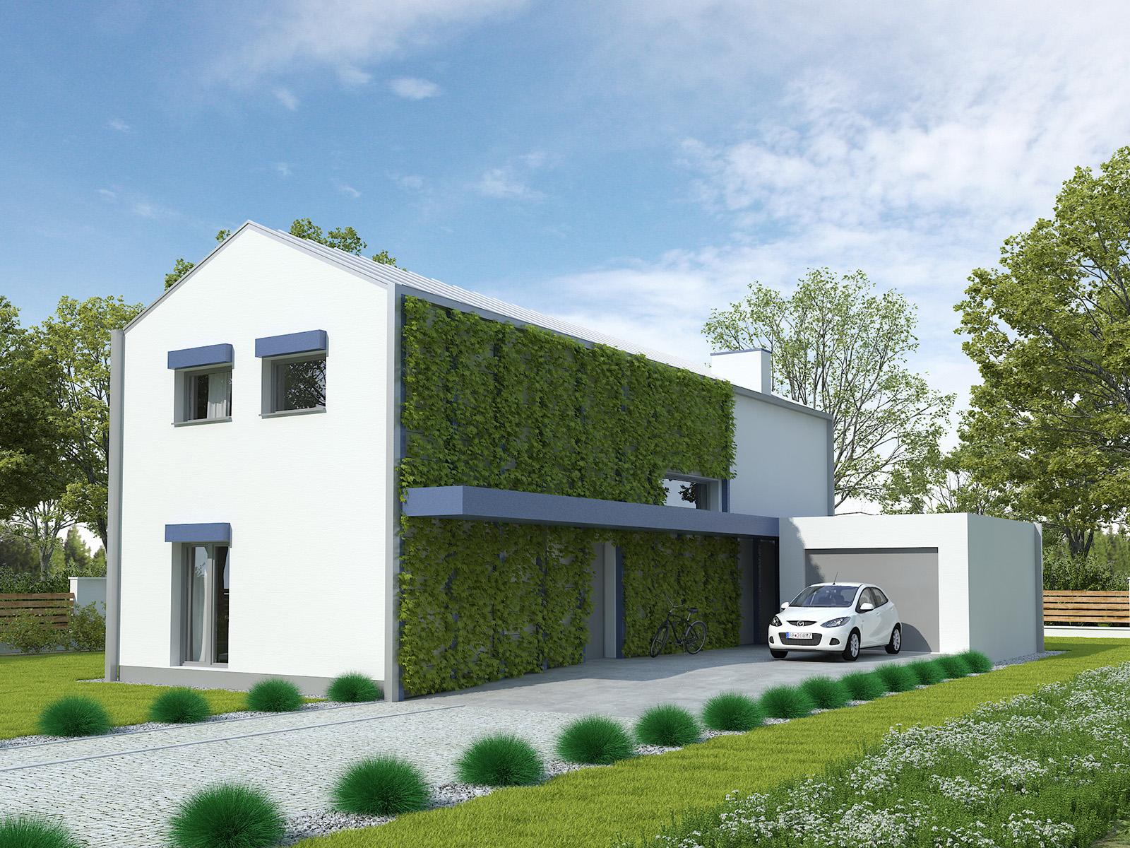 Projekt domu POŁUDNIOWY Domy Czystej Energii widok od frontu