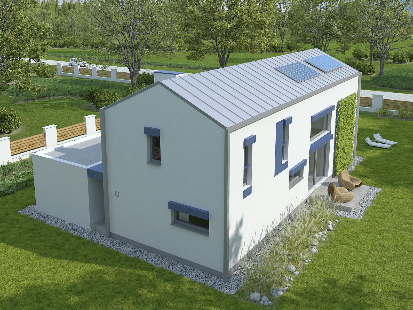 Projekt domu POŁUDNIOWY Domy Czystej Energii widok od ogrodu i od boku