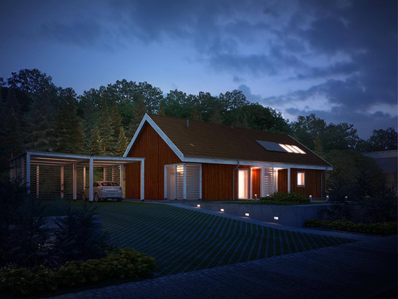 Projekt domu SKANDYNAWSKI Domy Czystej Energii widok od frontu