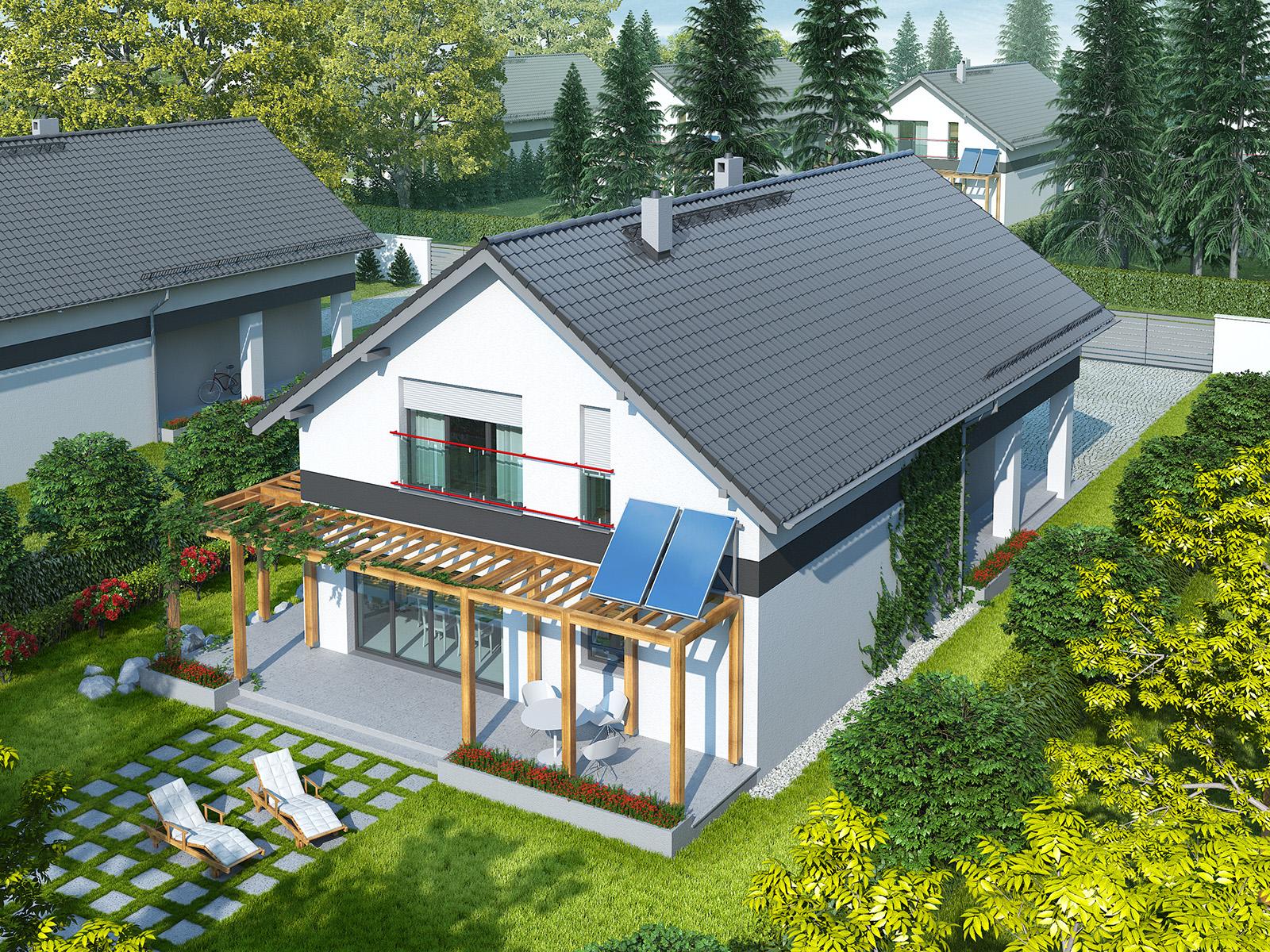 Projekt domu WĄSKI Domy Czystej Energii widok od ogrodu