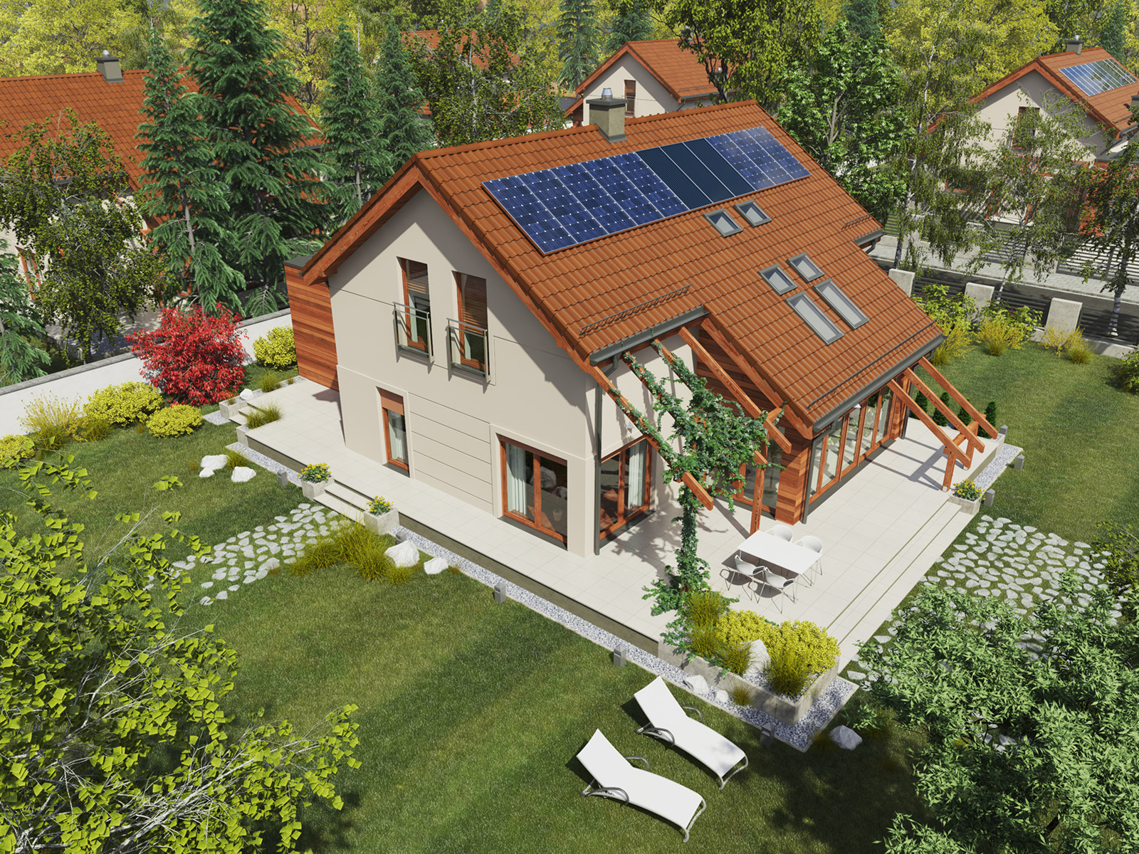 Projekt domu Z ORANŻERIĄ Domy Czystej Energii widok od ogrodu