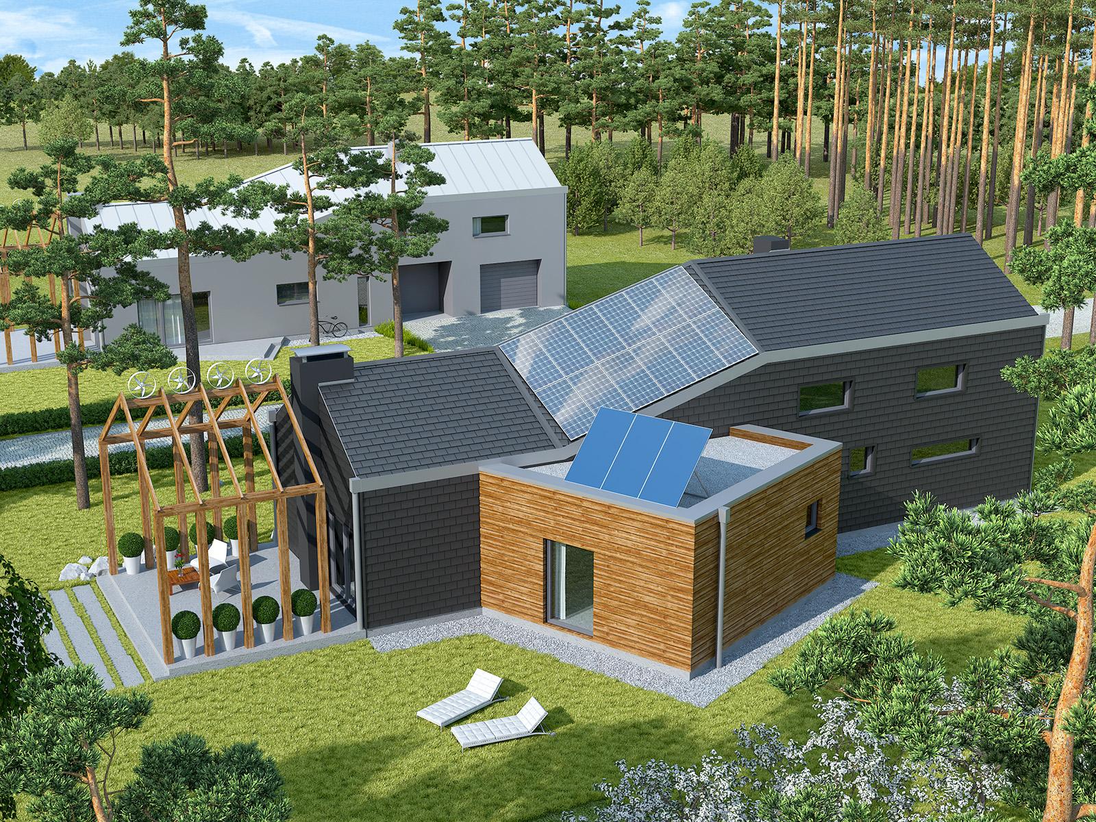 Projekt domu ZYGZAK Domy Czystej Energii widok od ogrodu