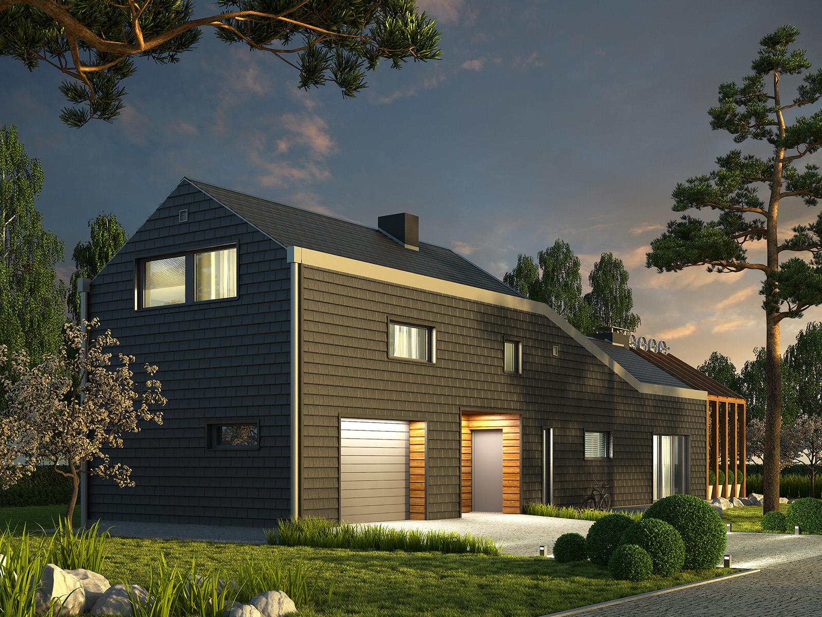 Projekt domu ZYGZAK Domy Czystej Energii widok od frontu