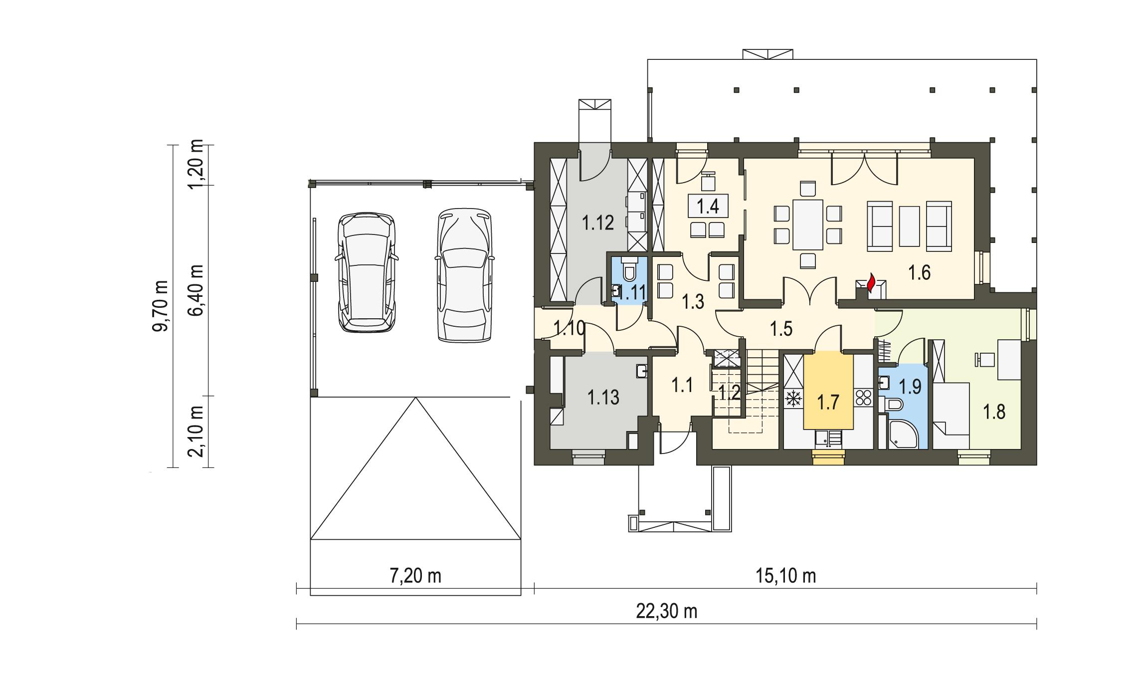 Projekt domu PRZYJAZNY Domy Czystej Energii rzut parteru