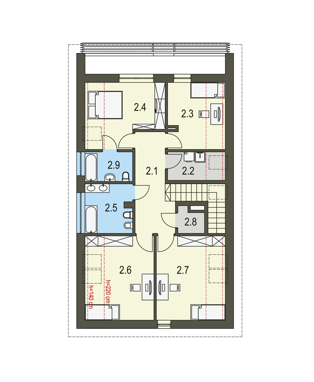 Projekt domu PRAKTYCZNY Domy Czystej Energii rzut piętra