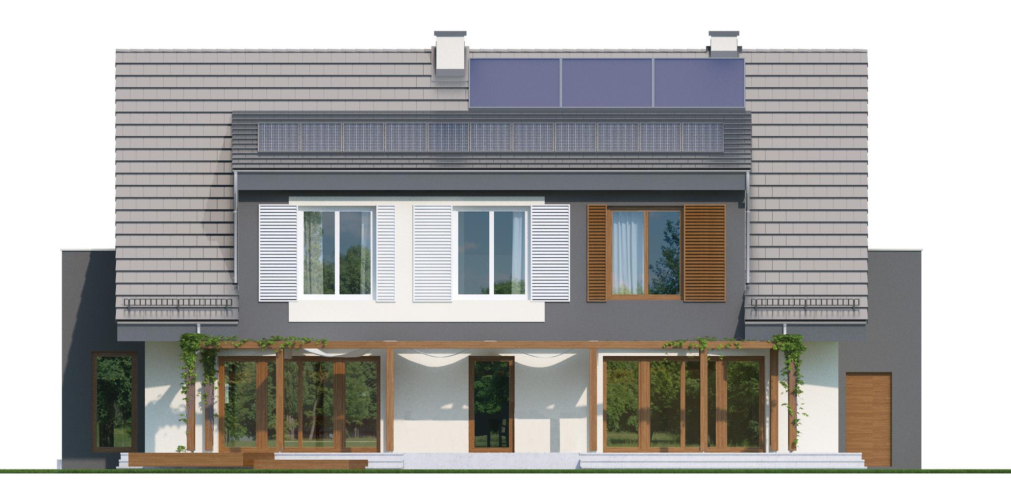 Projekt domu PANORAMA Domy Czystej Energii elewacja tylna