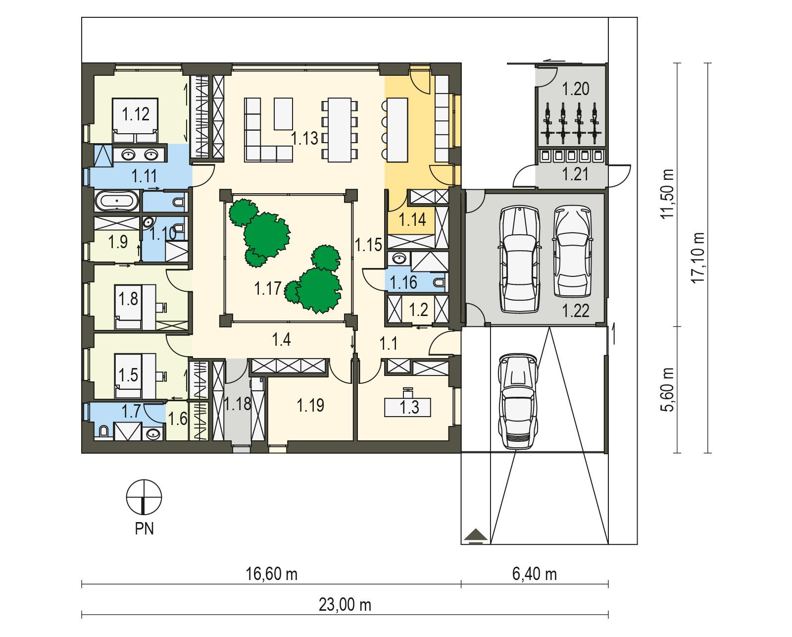Projekt domu pasywnego DAS HAUS II Domy Czystej Energii rzut parteru