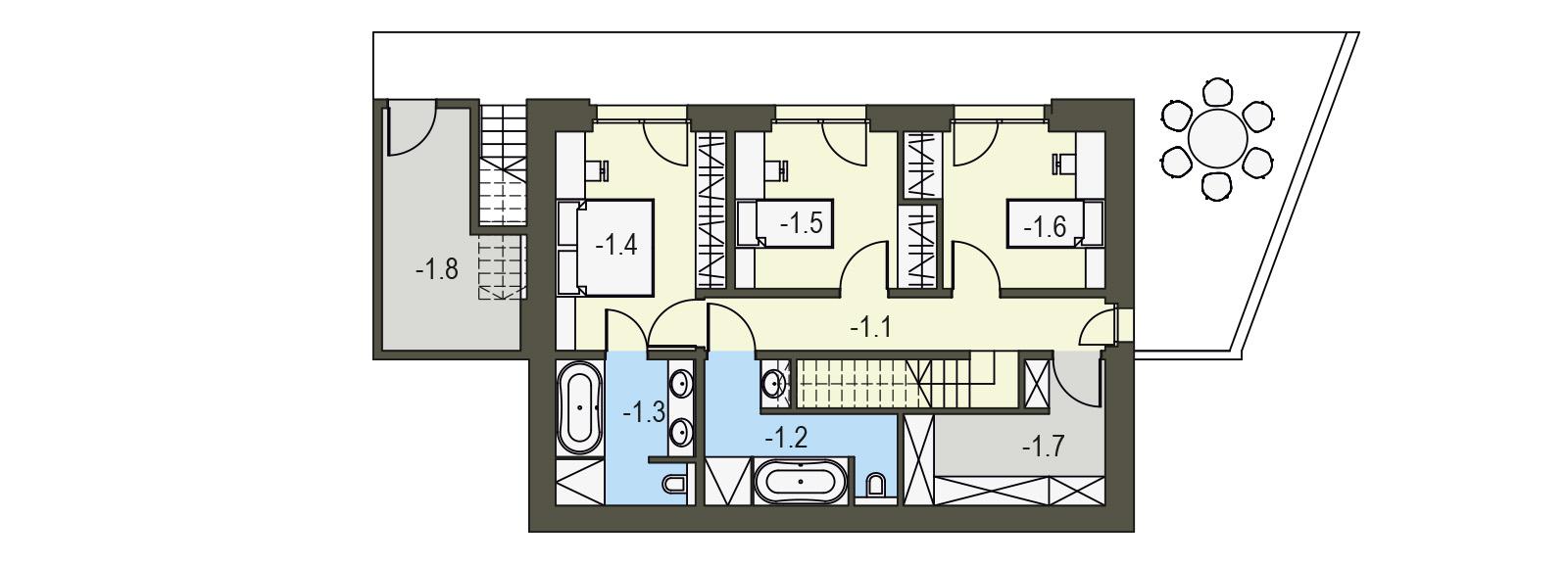 Projekt domu pasywnego DAS HAUS III Domy Czystej Energii rzut piętra