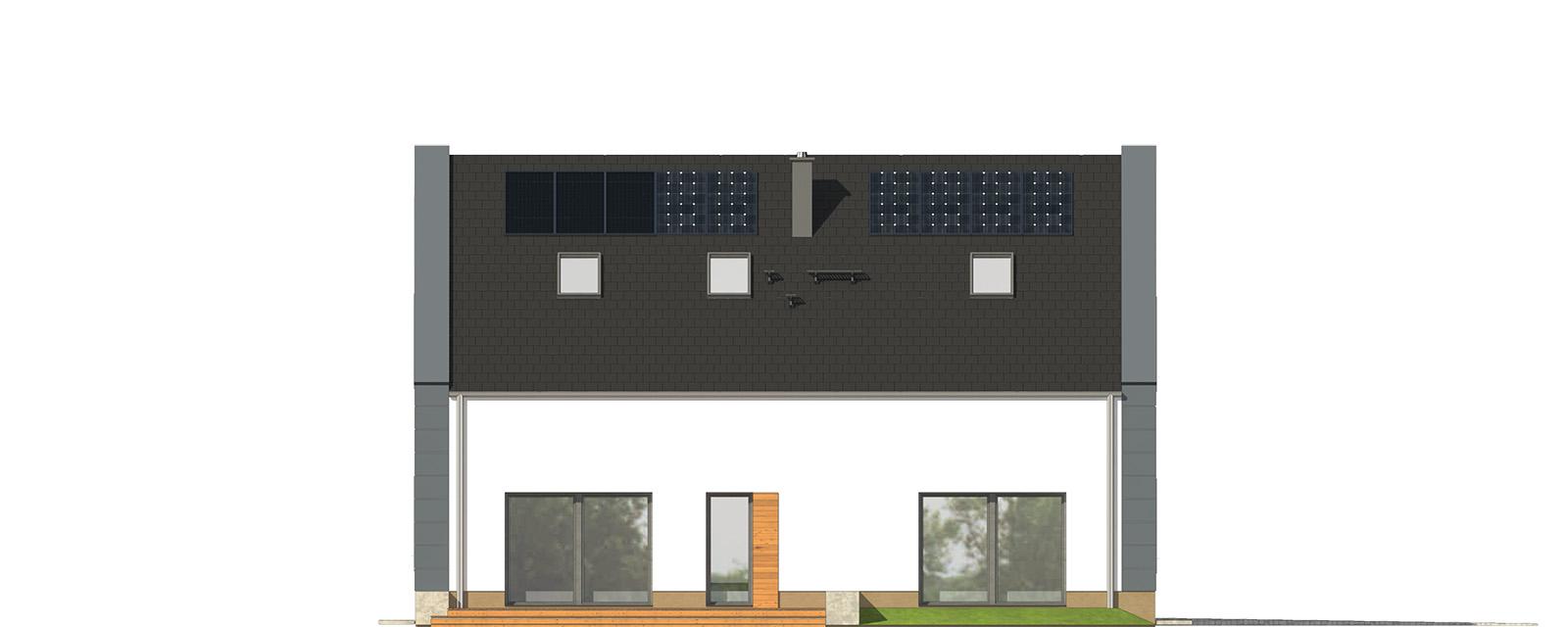 Projekt domu JAŚMINOWY Domy Czystej Energii elewacja tylna