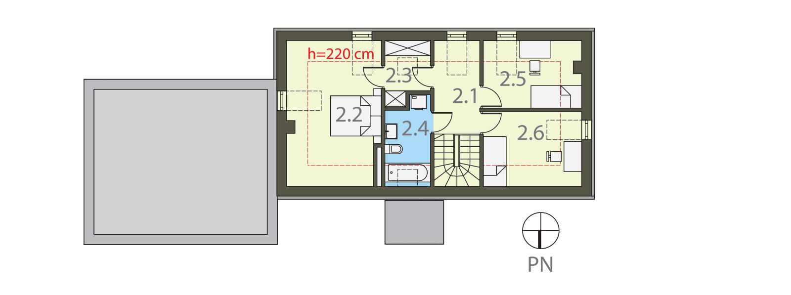 Projekt domu MANSARDA Domy Czystej Energii rzut piętra