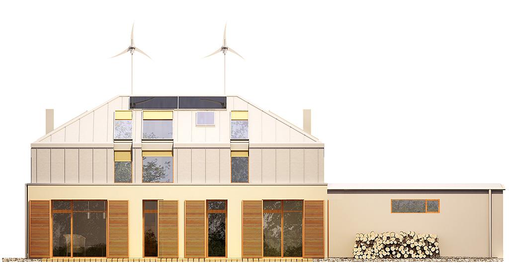 Projekt domu MANSARDA Domy Czystej Energii elewacja tylna