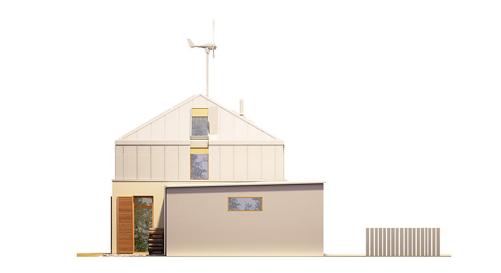 Projekt domu MANSARDA Domy Czystej Energii elewacja boczna