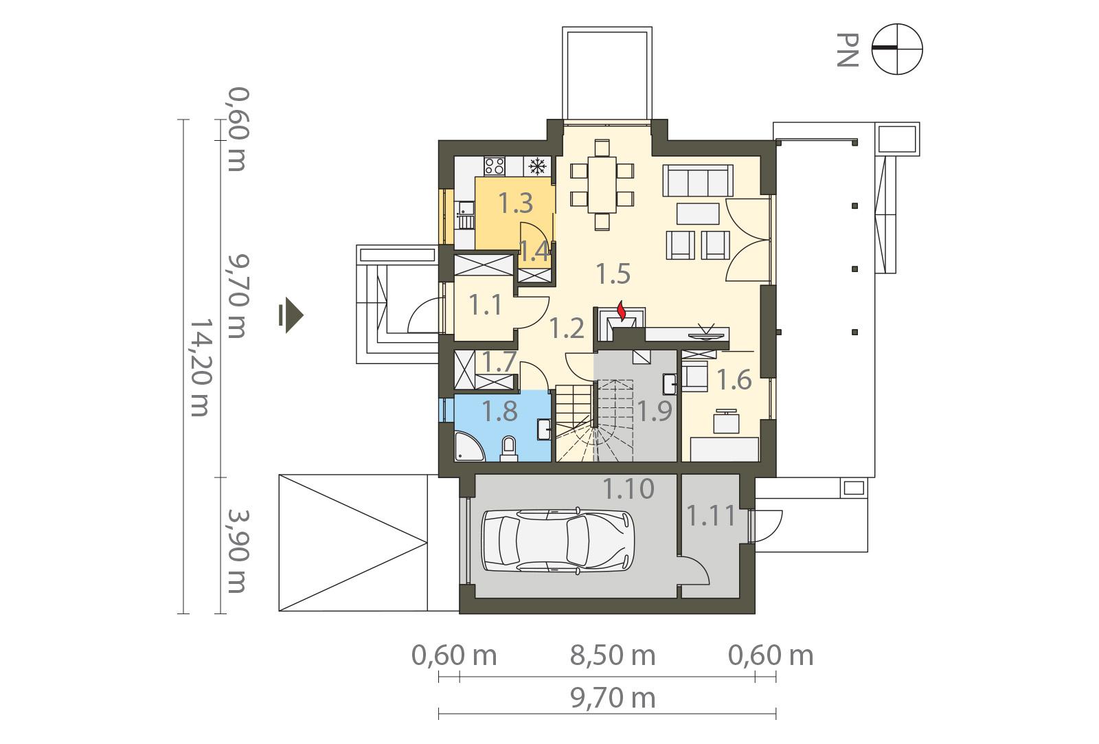Projekt domu MIGDAŁOWY Domy Czystej Energii rzut parteru