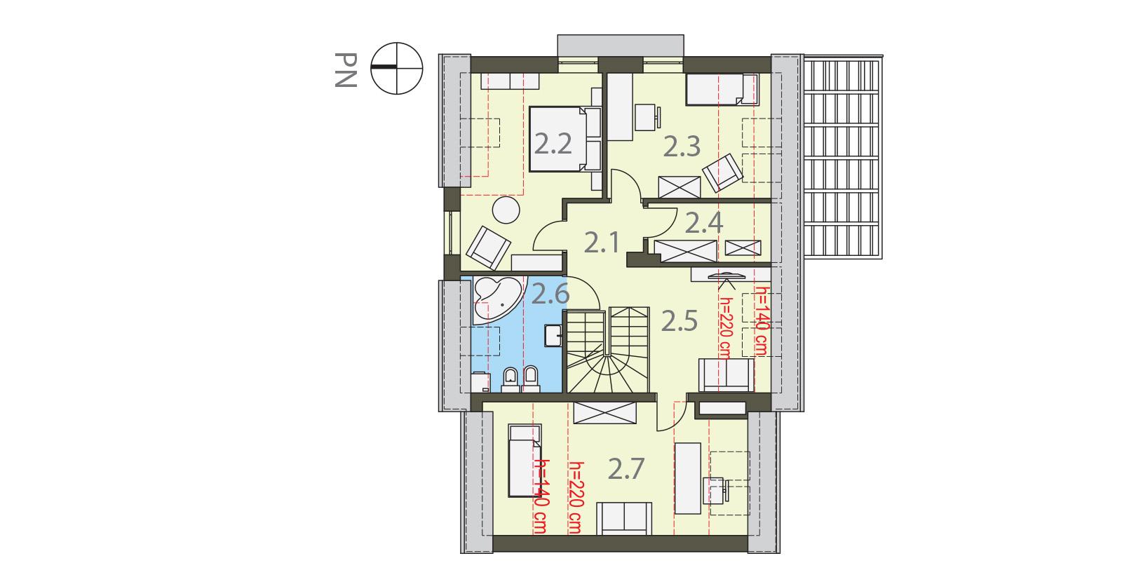 Projekt domu MIGDAŁOWY Domy Czystej Energii rzut piętra