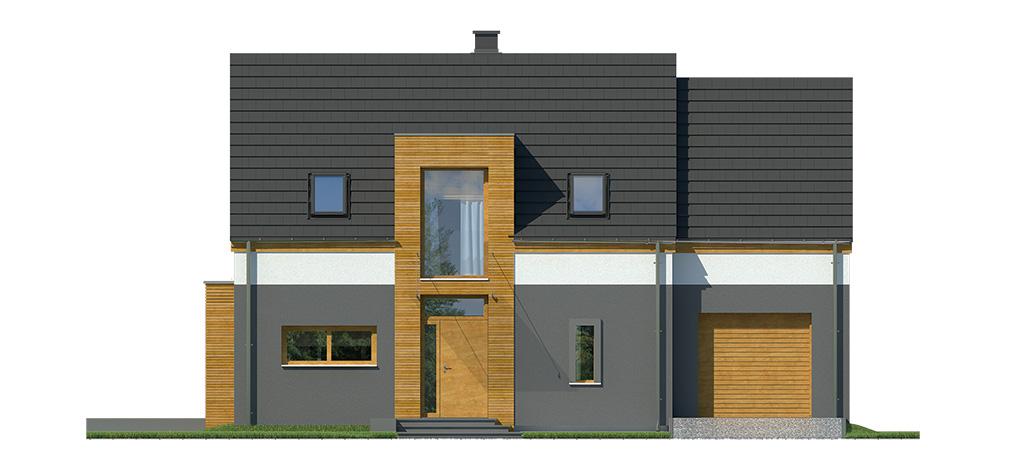 Projekt domu MIGDAŁOWY Domy Czystej Energii elewacja frontowa