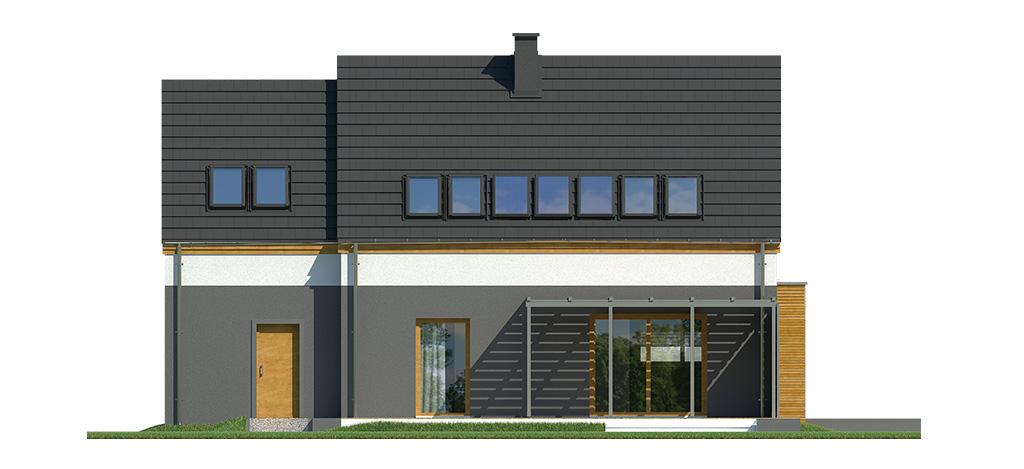 Projekt domu MIGDAŁOWY Domy Czystej Energii elewacja tylna