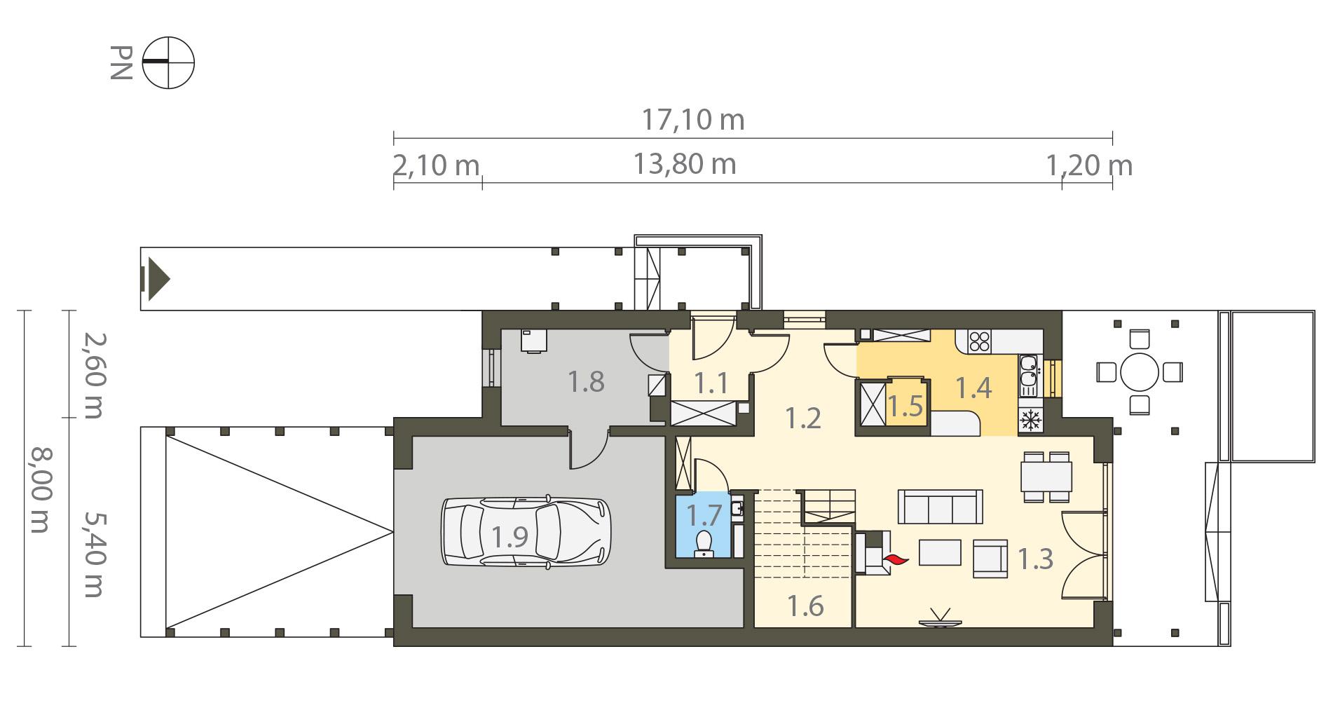 Projekt domu MAŁY I WĄSKI Domy Czystej Energii rzut parteru
