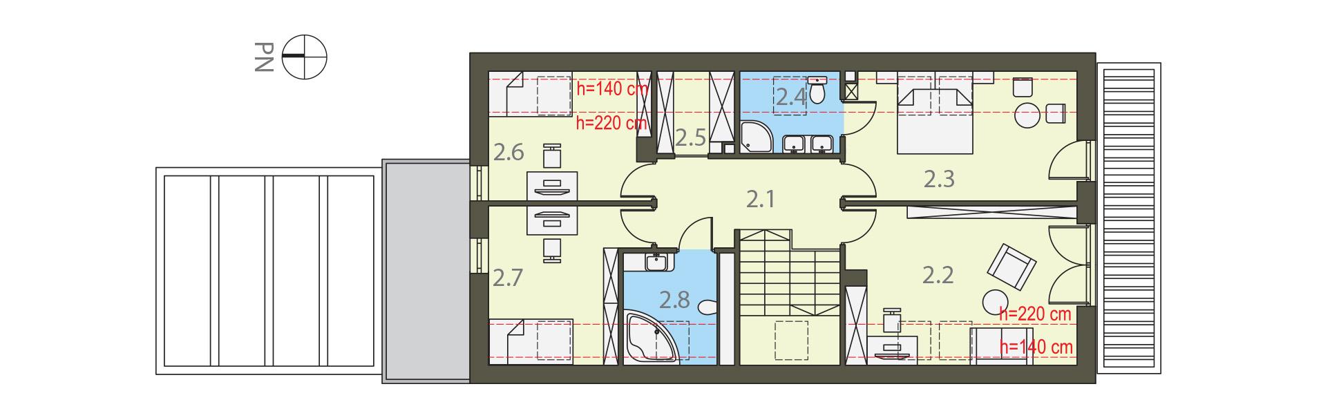 Projekt domu MAŁY I WĄSKI Domy Czystej Energii rzut piętra