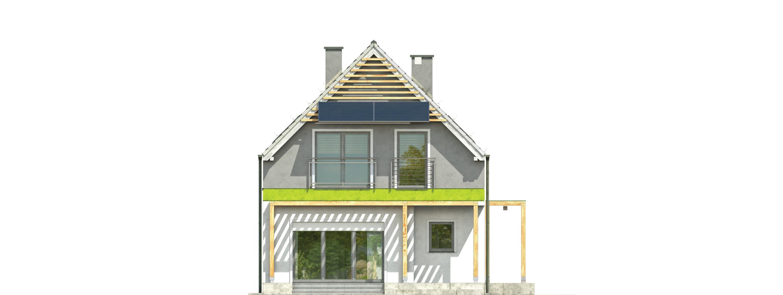 Projekt domu MAŁY I WĄSKI Domy Czystej Energii elewacja boczna